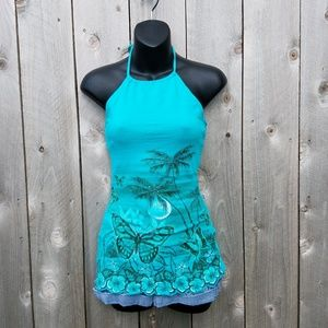 VANITY*TEAL*BUTTERFLY*PALM TREES*HALTER*SMALL